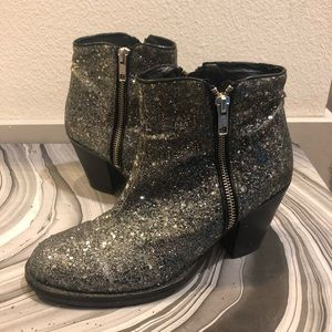 TOPSHOP Glitter Ankle Boots Booties US7 Silver